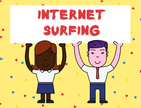 Handwriting text Internet Surfing. Conceptual photo browsing hundred of websites using any installed browser Two Smiling People Holding Big Blank Poster Board Overhead with Both Hands