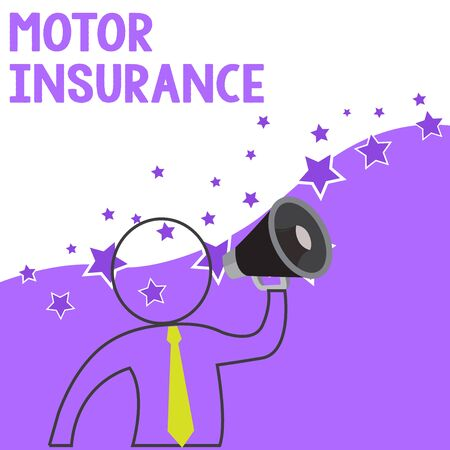 Text sign showing Motor Insurance. Business photo showcasing Provides financial compensation to cover any injuries Outline Symbol Man Loudspeaker Making Announcement Giving Instructions