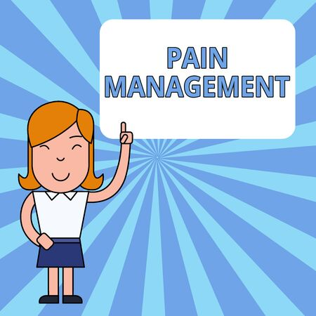 Writing note showing Pain Management. Business concept for a branch of medicine employing an interdisciplinary approach Woman Standing with Raised Left Index Finger Pointing at Blank Text Box