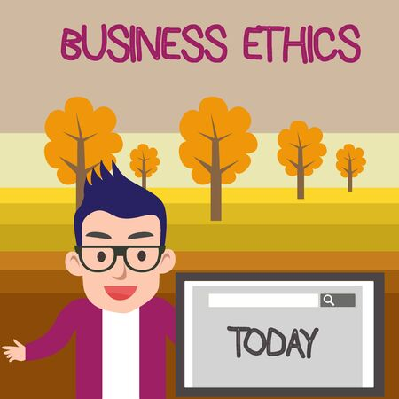 Text sign showing Business Ethics. Business photo text Moral principles that guide the way a business behaves Male Speaker Monitor with Search Tool on Screen Presentation or Report