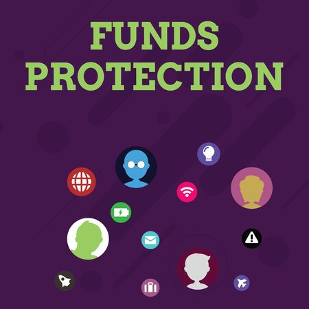 Word writing text Funds Protection. Business photo showcasing promises return portion initial investment to investor. Networking Technical Icons with Chat Heads Scattered on Screen for Link Up Stock Photo