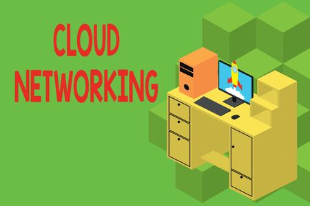 Text sign showing Cloud Networking. Business photo showcasing is term describing access of networking resources Working desktop station drawers personal computer launching rocket clouds Reklamní fotografie