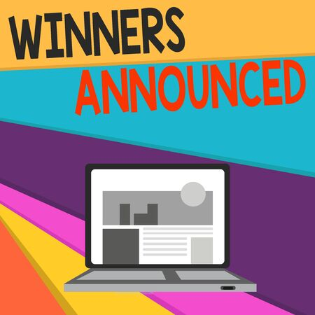 Handwriting text writing Winners Announced. Conceptual photo Announcing who won the contest or any competition Open Modern Laptop Switched On with Website Homepage on Screen Web Search Stock Photo