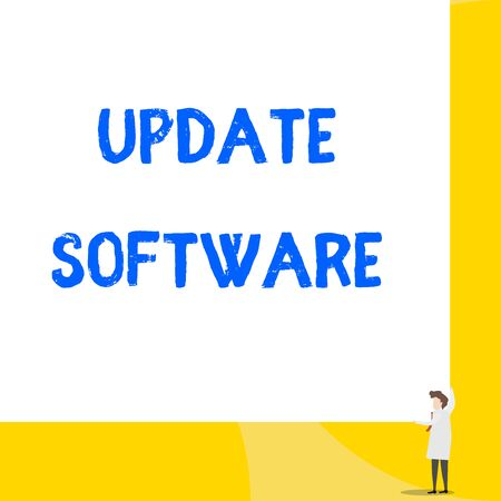 Writing note showing Update Software. Business concept for replacing program with a newer version of same product Young woman holding two hands right corner big rectangle