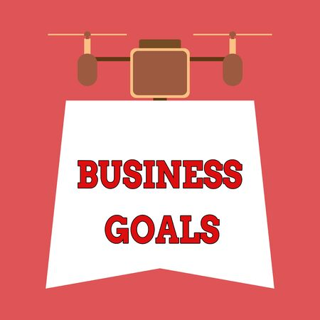 Writing note showing Business Goals. Business concept for Expectation to accomplish over a specific period of time Drone holding downwards banner. Geometrical abstract background design Imagens