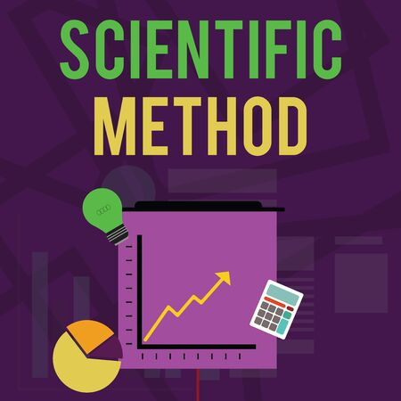 Text sign showing Scientific Method. Business photo text Principles Procedures for the logical hunt of knowledge Investment Icons of Pie and Line Chart with Arrow Going Up, Bulb, Calculator 스톡 콘텐츠 - 124926999