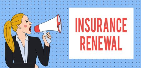 Word writing text Insurance Renewal. Business photo showcasing Protection from financial loss Continue the agreement Young Woman Jacket Ponytail Shouting into Loudhailer Rectangular Text Box Stock Photo