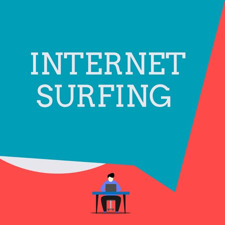 Writing note showing Internet Surfing. Business concept for browsing hundred of websites using any installed browser Man sitting chair desk working laptop geometric background