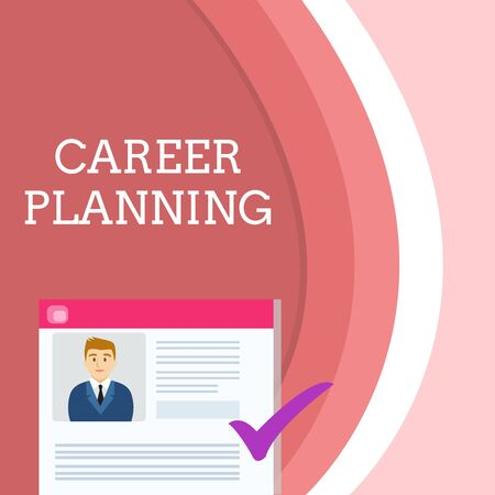 Handwriting text writing Career Planning. Conceptual photo A list of goals and the actions you can take to achieve them Curriculum Vitae Resume of Young Male Candidate Marked by Colored Checkmark