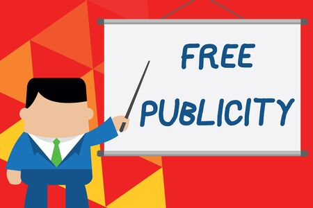 Conceptual hand writing showing Free Publicity. Concept meaning Promotional marketing Mass media Public Relations Editorial Businessman standing in front projector pointing project idea