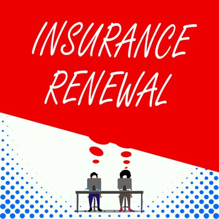 Text sign showing Insurance Renewal. Business photo text Protection from financial loss Continue the agreement Two men sitting behind desk each one laptop sharing blank thought bubble Stock Photo