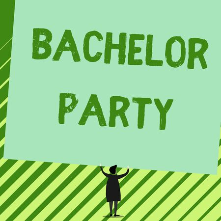 Word writing text Bachelor Party. Business photo showcasing Party given for a analysis who is about to get married Stag night Man stands in back view under huge empty blank big tilted rectangle board