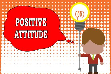Handwriting text writing Positive Attitude. Conceptual photo Being optimistic in Life Looking for good things Standing man tie holding plug socket light bulb to connect idea. Startup