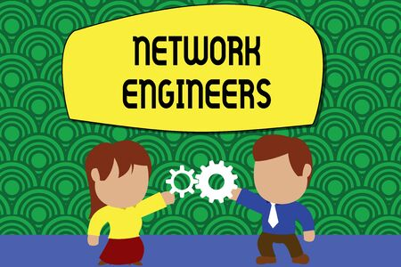 Word writing text Network Engineers. Business photo showcasing Technology professional Skilled in computer system Standing young couple sharing gear. Man tie woman skirt commerce relation