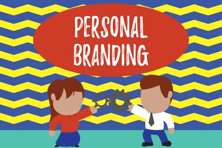 Conceptual hand writing showing Personal Branding. Concept meaning Practice of People Marketing themselves Image as Brands Young couple sharing gear Man tie woman skirt relation Foto de archivo