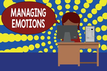 Word writing text Managing Emotions. Business photo showcasing Controlling feelings in oneself Maintain composure Young female working office sitting desktop computer office monitor photo Imagens