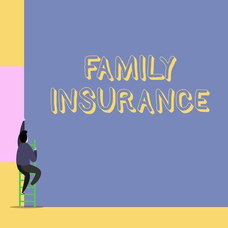 Word writing text Family Insurance. Business photo showcasing paying a partial or full health care for relatives Back view young man climbing up staircase ladder lying big blank rectangle