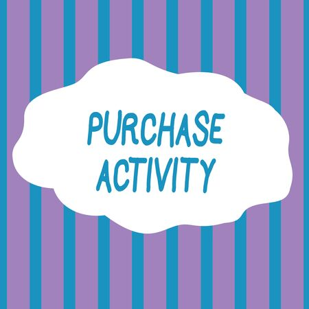 Text sign showing Purchase Activity. Business photo showcasing Acquiring goods to achieve the goals of an organization Seamless Vertical Stripes Pattern in Blue and Violet Alternate Color Strip
