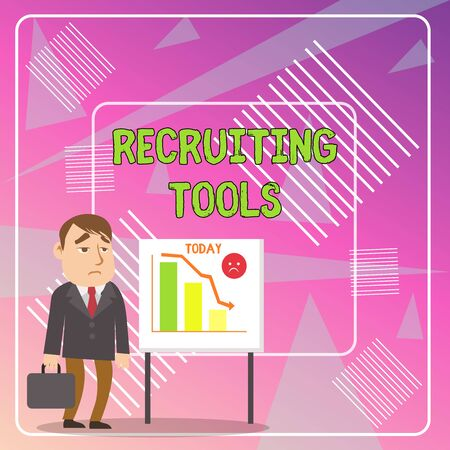 Word writing text Recruiting Tools. Business photo showcasing getting new talents to your company through internet or ads Businessman Clerk with Brief Case Standing Whiteboard Declining Bar Chart