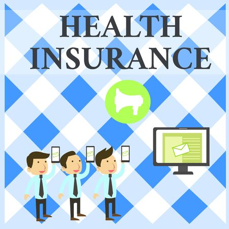 Text sign showing Health Insurance. Business photo showcasing coveragethat pays for medicaland surgical expenses SMS Email Marketing Media Audience Attraction Personal Computer Loudspeaker Stock Photo