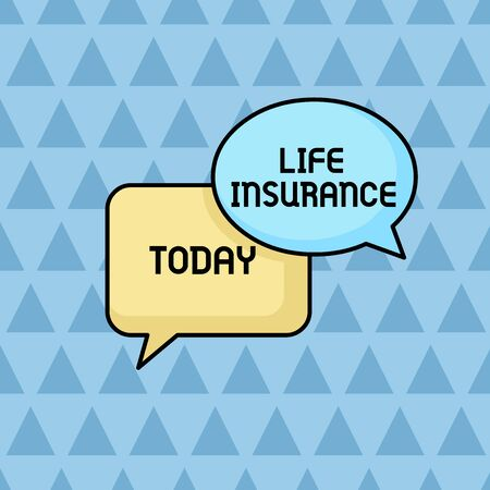 Text sign showing Life Insurance. Business photo showcasing Payment of death benefit or injury Burial or medical claim Pair of Overlapping Blank Speech Bubbles of Oval and Rectangular Shape