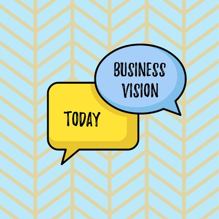 Writing note showing Business Vision. Business concept for grow your business in the future based on your goals Pair of Overlapping Blank Speech Bubbles of Oval and Rectangular Shape