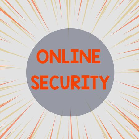 Word writing text Online Security. Business photo showcasing rules to protect against attacks over the Internet Sunburst Explosion Yellow Orange Pastel Rays Beams Depth and Perspective