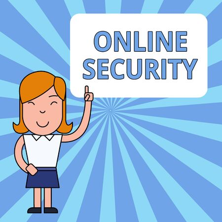 Writing note showing Online Security. Business concept for rules to protect against attacks over the Internet Woman Standing with Raised Left Index Finger Pointing at Blank Text Box
