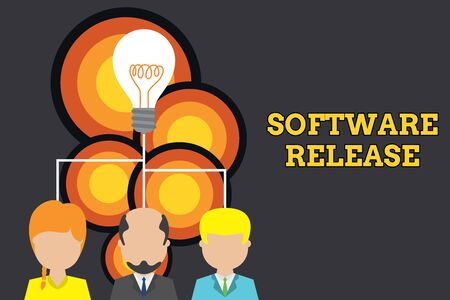 Conceptual hand writing showing Software Release. Concept meaning sum of stages of development and maturity for program Three executive persons sharing idea Startup team meeting