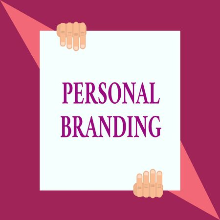 Conceptual hand writing showing Personal Branding. Concept meaning Practice of People Marketing themselves Image as Brands Two hands hold one big white paper placed on top and bottom