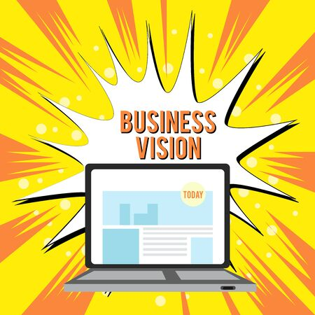 Text sign showing Business Vision. Business photo text grow your business in the future based on your goals Open Modern Laptop Switched On with Website Homepage on Screen Web Search