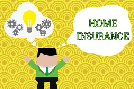 Word writing text Home Insurance. Business photo showcasing Covers looses and damages and on accidents in the house Standing man suit hands up imaginary bubble light bulb gears working together Stock Photo
