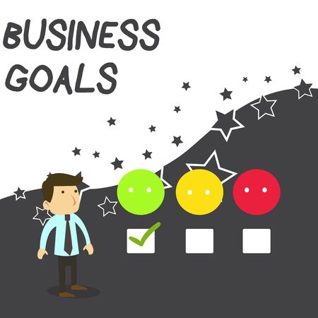 Text sign showing Business Goals. Business photo text Expectation to accomplish over a specific period of time White Male Questionnaire Survey Choice Checklist Satisfaction Green Tick