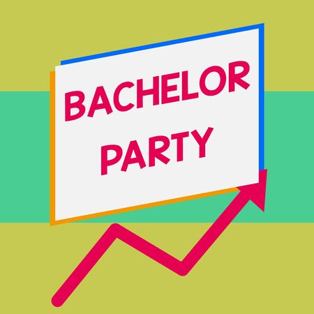 Handwriting text writing Bachelor Party. Conceptual photo Party given for a analysis who is about to get married Stag night One blank rectangle above another arrow zigzag upwards increasing sale