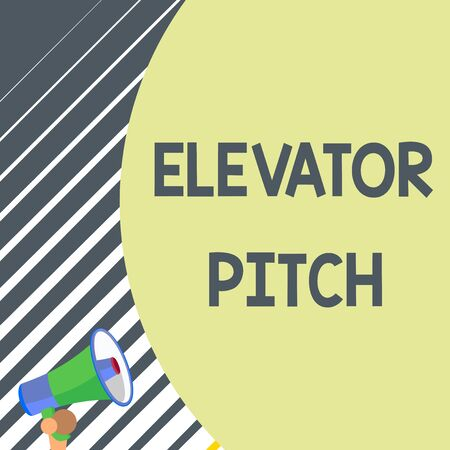 Writing note showing Elevator Pitch. Business concept for A persuasive sales pitch Brief speech about the product Old design of speaking trumpet loudspeaker for talking to audience