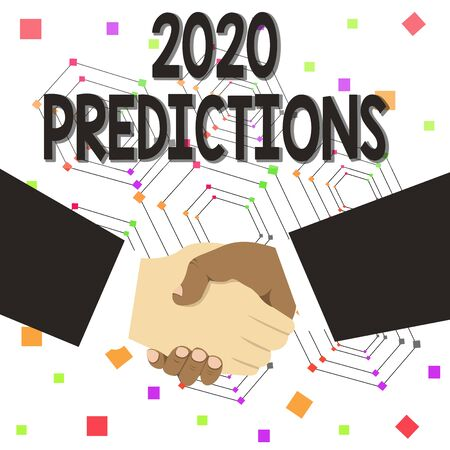 Text sign showing 2020 Predictions. Business photo text list of things you feel that going to happen without proof Hand Shake Multiracial Male Business Partners Colleagues Formal Black Suits Banco de Imagens
