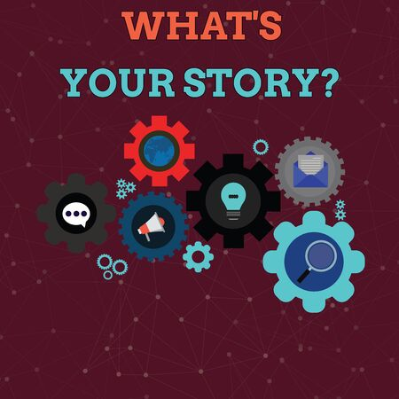 Handwriting text What S Is Your Story question. Conceptual photo analysisner of asking demonstrating about past life events Set of Global Online Social Networking Icons Inside Colorful Cog Wheel Gear