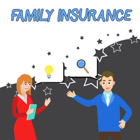 Conceptual hand writing showing Family Insurance. Concept meaning paying a partial or full health care for relatives Business Partners Colleague Jointly Seeking Problem Solution