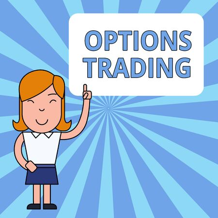 Writing note showing Options Trading. Business concept for Different options to make goods or services spread worldwide Woman Standing with Raised Left Index Finger Pointing at Blank Text Box