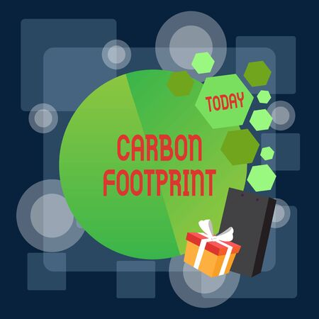 Writing note showing Carbon Footprint. Business concept for amount of dioxide released atmosphere result of activities Greeting Card Poster Gift Package Presentation Box Decorated by Bowknot Stock Photo