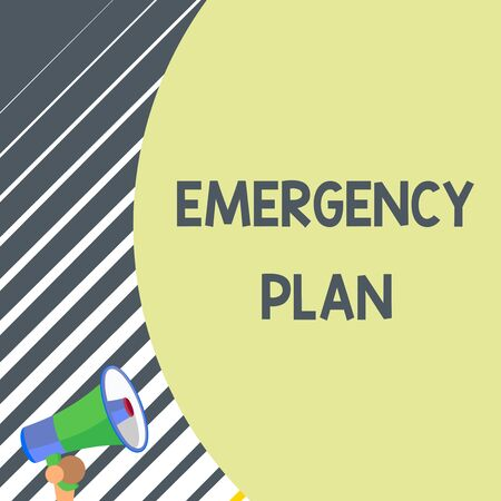 Writing note showing Emergency Plan. Business concept for Procedures for response to major emergencies Be prepared Old design of speaking trumpet loudspeaker for talking to audience