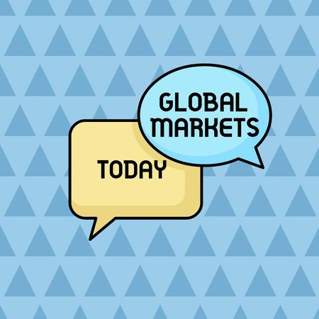 Text sign showing Global Markets. Business photo showcasing Trading goods and services in all the countries of the world Pair of Overlapping Blank Speech Bubbles of Oval and Rectangular Shape