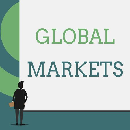 Text sign showing Global Markets. Business photo showcasing Trading goods and services in all the countries of the world Back view young woman watching blank big rectangle. Geometrical background