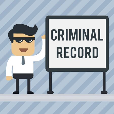 Writing note showing Criminal Record. Business concept for profile of a demonstrating criminal history with details Office Worker Sunglass Blank Whiteboard Meeting Presentation