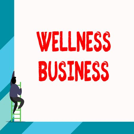 Writing note showing Wellness Business. Business concept for Professional venture focusing the health of mind and body Back view young long hair woman holding blank square announcement
