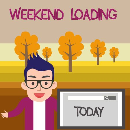 Text sign showing Weekend Loading. Business photo text Starting Friday party relax happy time resting Vacations Male Speaker Monitor with Search Tool on Screen Presentation or Report Stock Photo