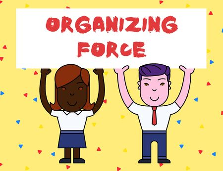 Handwriting text Organizing Force. Conceptual photo being United powerful group to do certain actions Two Smiling People Holding Big Blank Poster Board Overhead with Both Hands Stock Photo