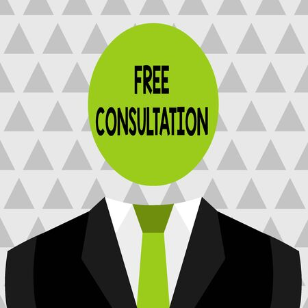 Text sign showing Free Consultation. Business photo showcasing Giving medical and legal discussions without pay Symbolic Drawing Emblematic Figure of Man Formal Suit Oval Faceless Head Banco de Imagens