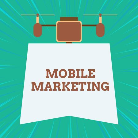 Text sign showing Mobile Marketing. Business photo showcasing technique focused reaching audience on their smart device Drone holding downwards banner. Geometrical abstract background design Imagens
