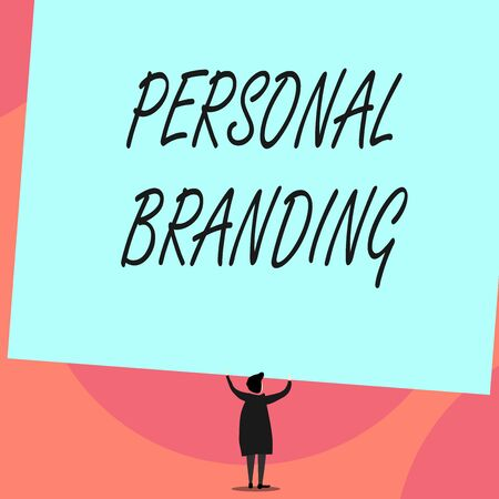 Word writing text Personal Branding. Business photo showcasing Practice of People Marketing themselves Image as Brands Back view standing short hair woman dress hands up holding blank rectangle